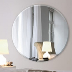 24 Inch Round 1/4 Inch Thick Beveled Polished Mirror with Hook