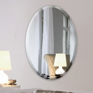 22 x 30 Inch Oval 1/4 Inch Thick Beveled Polished Mirror with Hooks